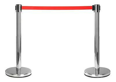 2x Crowd Control Barrier Security Post Extractable Belt Disco Bouncer Airport