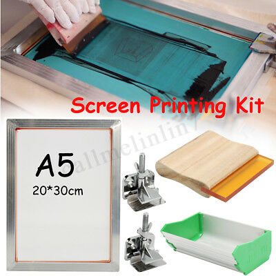 A5 5Pcs/Set Screen Printing Kit Aluminum Frame+Hinge Clamp+Emulsion Coater+Squee