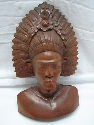 Signed Bali Balinese Wooden Carved Native Figure Statue Sculpture Bust Man Tiki