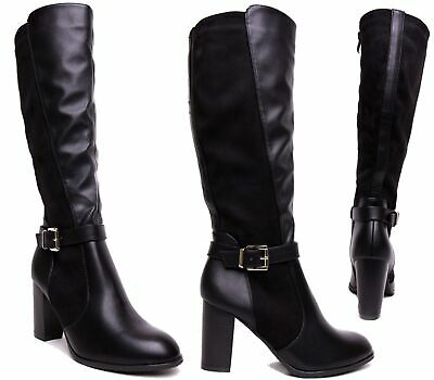Details about Ladies Womens Knee High Zip Up Block Heel Winter Riding Biker Boots Shoes Size