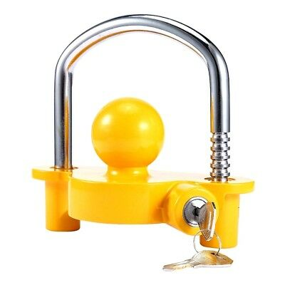 key lock Shackle & Ball Tow Hitch Coupling Security Caravan Trailer BRIGHT box