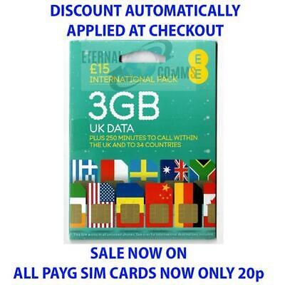 PAYG EE £15 INTERNATIONAL PACK SIM CARD **NOW ONLY 20p** (DISCOUNT AUTO APPLIED)