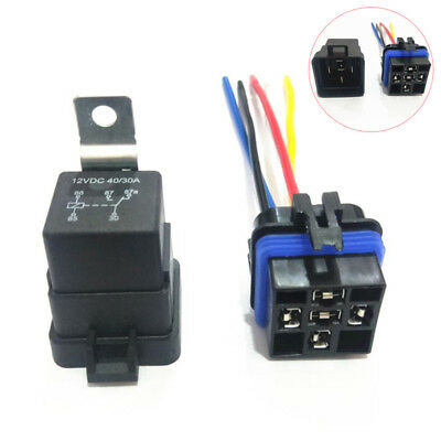 12V 40A 5 Pin Automobile Relay Socket Integrated Wired Relay Holder With Wire LC
