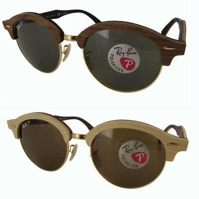 dfed60b004 RAY-BAN CLUBROUND RB 4246M 118158 Brown Wood Sunglasses Green ...