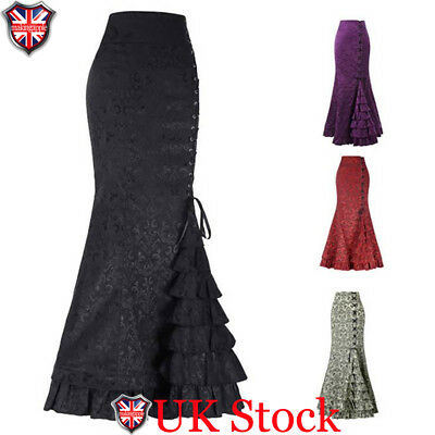 Vintage Womens Ladies Steampunk Victorian style Mermaid Ruffled Lace Up Skirt UK
