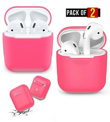 48340a87b01 Apple Airpod Charging Box Silicone Protective Skin Case For AirPods PINK 2  Pack