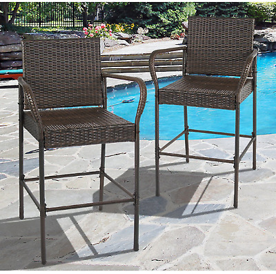 Wicker Bar Stool Set 2 Outdoor Patio Furniture Brown Rattan Arms Back Deck Chair