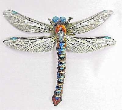 Dragonfly metal wall art hand painted home decor (A)