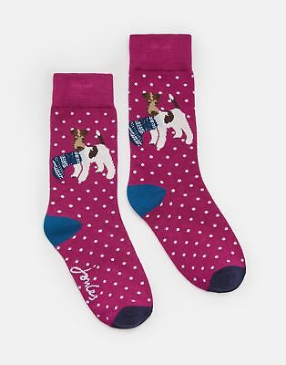 Joules 124985 Bamboo Socks 4 8 in CHRISTMAS DOG Size 4in8