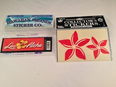 Hawaiian Vinyl Stickers-Two New Packages-Never Opened-Live Aloha and Plumeria