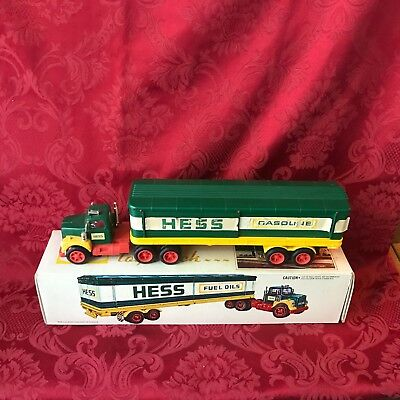 "1975 Hess ""toy Truck"" ""in Box With Bottom Insert & (2) Barrels""-Lights Working"