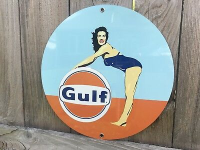 Gulf racing Gasoline Round Metal Pinup Girl Pin Up  sign oil gas porsche ford