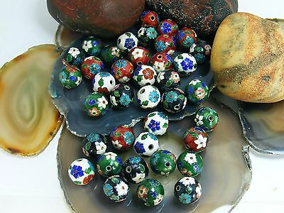 Vintage Chinese Cloisonne ENAMEL 16mm  BEAD Multi Color Blue Green Red 38 LOOSE