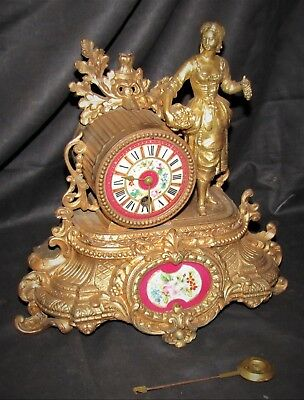 Very Pretty French Gilt Clock With Enamel Panel & Period Figure
