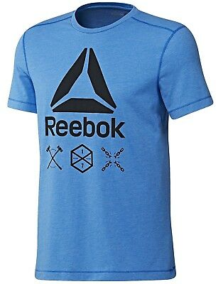 New Men's Reebok Speedwick Delta T-Shirt Top - Blue - Gym Training Fitness