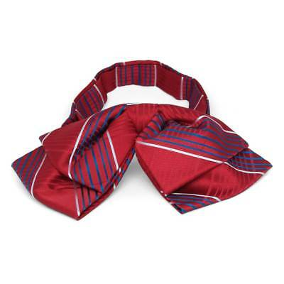 TieMart Dark Red Jeffrey Plaid Floppy Bow Tie
