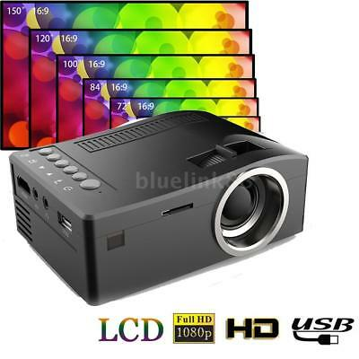 Mini Pocket HD 1080p Portable LCD Projector For Home Cinema LED AV TV USB B5E8