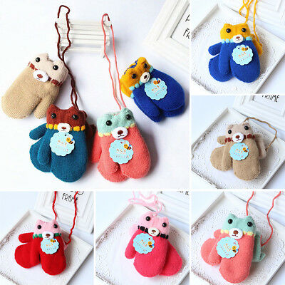 1x Winter Warm Toddler Kids Baby Girl Boy Gloves Fur Thick Mittens With Rope UK