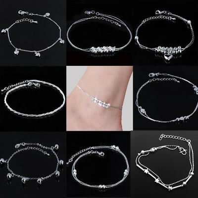 UK Fashion Ankle Bracelet Women 925 Silver Plate Anklet Foot Jewelry Chain Beach