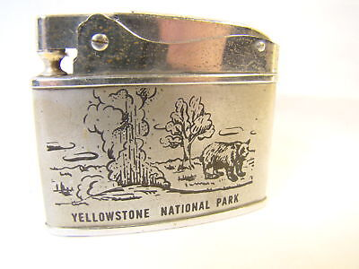 Vintage   Yellowstone Teton National Parks Automatic Lighter Sparking Well Rare