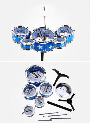 Kids My First Drum Kit Play Set Musical Toy Instrument Pedal Stool Toy Gift Xmas