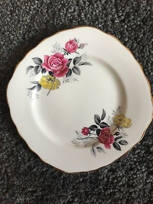 Royal Vale Vintage Floral Side Plate Tea Party Pink Yellow Rose Bone China