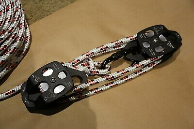 Twin sheave block and tackle 7500Lb pulley system 115 feet 1/2 Double Braid Rope