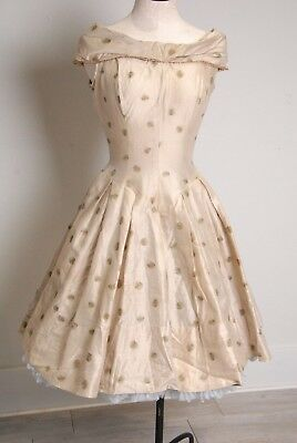 vintage 1950s dress, pleated full skirt, gold accents size small