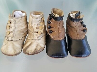 2 Pairs Victorian Baby Shoes Vintage Doll Shoe Leather Buttons White/Brown/Black