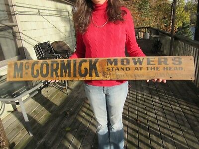 ORIGINAL 1800's McCORMICK MOWERS STAND AT THE HEAD WOOD DEALER ADVERTISING SIGN