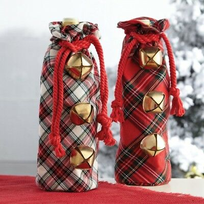 Mud Pie H7 Christmas 12x6in Jingle Bell Tartan Wine Bag 4864066 Choose Design