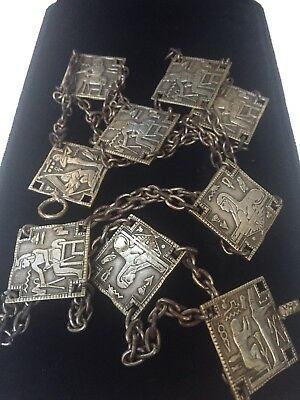 1920s Art Deco Silver Tone Metal Egyptian Revival Chain & Dbl Sided Panel Belt