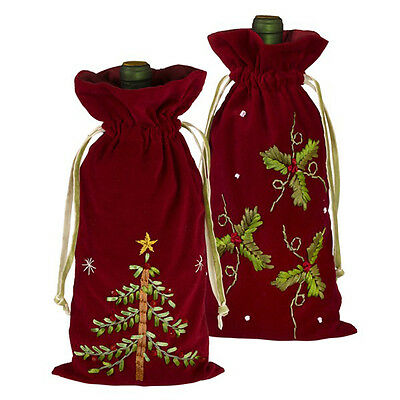 Grasslands Road Christmas Ribbon Wine Bags Holly / Christmas Tree - 463144