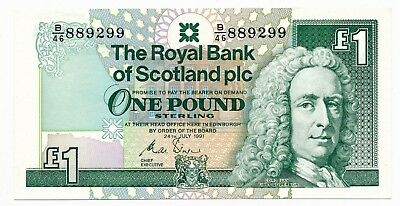 The Royal Bank of Scotland 1991 Pound UNC Note # 889299