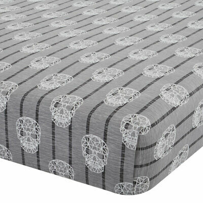 Catherine Lansfield Skulls Easy Care Cotton Rich Fitted Sheet, Grey