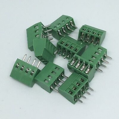 "10Pcs 2.54mm 0.1"" Universal 4 Pin 4 Poles PCB Screw Terminal Block Connector"