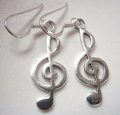 """2/"""" 925 Sterling Silver Large Musical  Note Treble Clef Long Drop Earrings 55mm"""