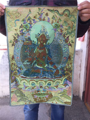 "24"" Tibetan Nepal Silk Embroidered thangka Tara buddhist Holding lotus Guanyin"