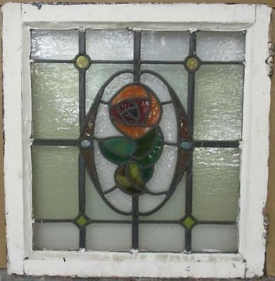 """MID SIZED OLD ENGLISH LEADED STAINED GLASS WINDOW Stunning Floral 21.5"""" x 22.5"""""""