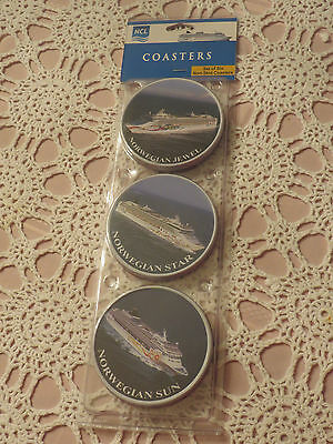 NCL Norwegian Cruise Line Coasters - Set of 6 Non-Skid - Brand NEW, Sealed *