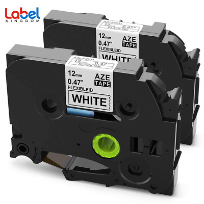 "2 PK TZ TZe-FX231 Compatible Brother P-Touch  Flexible Label Tape 12mm 1/2"" NEW"