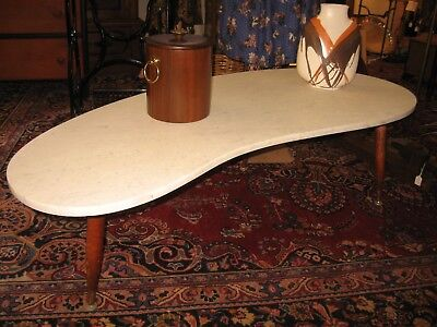 Vintage Mid Century Modern Marble Kidney Shaped Coffee Table Biomorphic 50s 60s