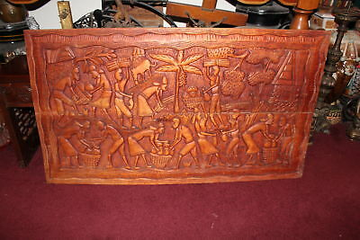 Large Vintage Haitian African Wood Carving Wall Art Farmers Working Fields