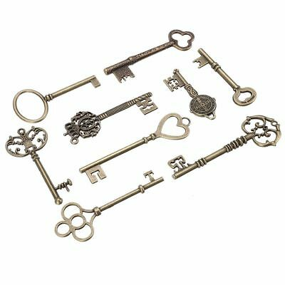 NEW 9PCS BIG Large Antique Vtg old Brass Skeleton Keys Lot Cabinet Barrel Lock