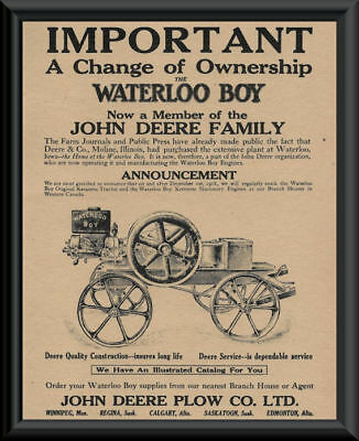 1918 John Deere Advertisement Poster Reprint On 100 Year Old Paper *P040