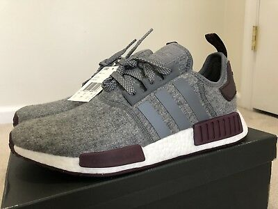 Adidas NMD R1 Boost Wool Grey Maroon White CQ0761 Champs Exclusive -Size 10 d8f1db7d86dd