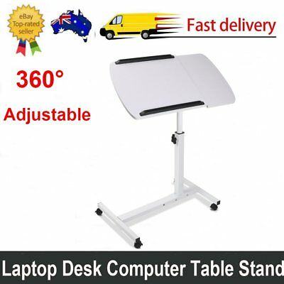 Adjustable Height Rotating Mobile Laptop Desk Tray Computer Table Lockable White