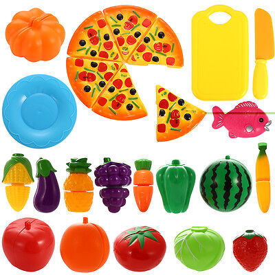 Kids Toy Pretend Role Play Kitchen Fruit Vegetable Cake Food 24pcs Cutting Sets