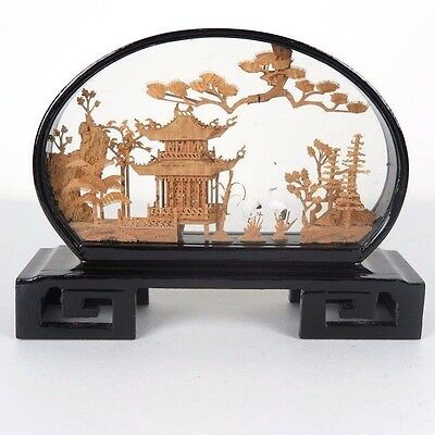 """Chinese Cork Sculpture Picture w/ Cranes Black Wood Encased Framed Glass 8""""L New"""