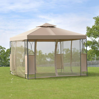 2-Tier 10'x10' Gazebo Canopy Tent Shelter Awning Steel Patio Garden Brown Cover